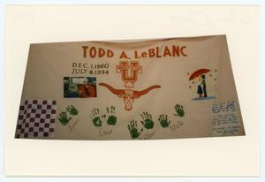 Primary view of object titled '[AIDS Memorial Quilt Panel for Todd A. LeBlanc]'.