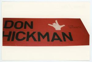 Primary view of object titled '[AIDS Memorial Quilt Panel for Don Hickman]'.