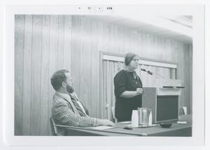 Primary view of object titled '[Manson Woody and Sue Thrasher Speaking]'.