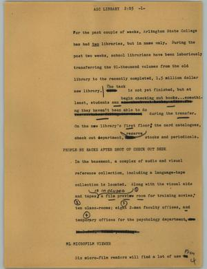 Primary view of object titled '[News Script: ASC library]'.