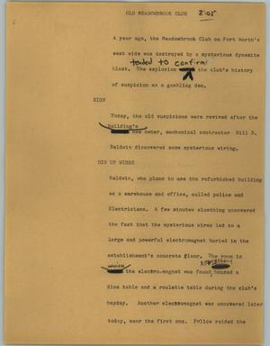 Primary view of object titled '[News Script: Old Meadowbrook Club]'.