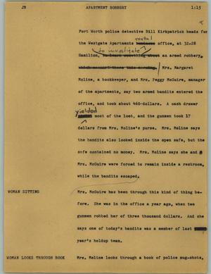 Primary view of object titled '[News Script: Apartment robbery]'.