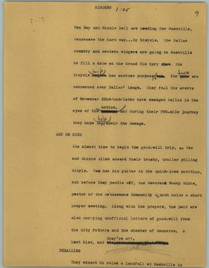 Primary view of object titled '[News Script: Singers]'.