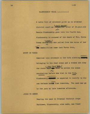 Primary view of object titled '[News Script: Blankenship trial]'.
