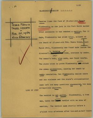 Primary view of object titled '[News Script: Blankenship verdict]'.