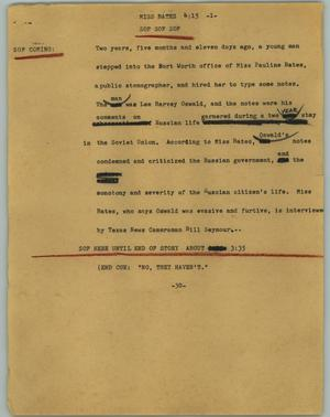 Primary view of object titled '[News Script: Miss Bates]'.