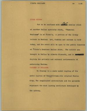 Primary view of object titled '[News Script: Fiesta Mexicano]'.