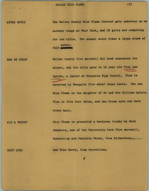 Primary view of object titled '[News Script: Dallas Miss Flame]'.