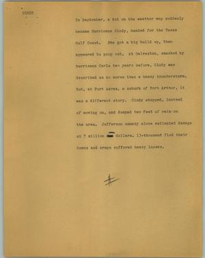 Primary view of object titled '[News Script: Cindy]'.