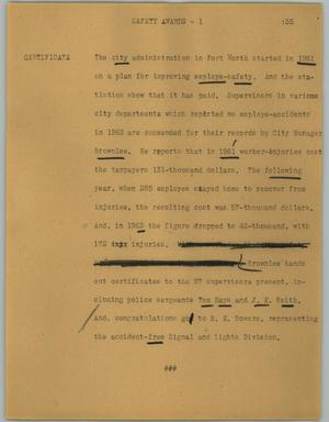 Primary view of object titled '[News Script: Safety awards]'.