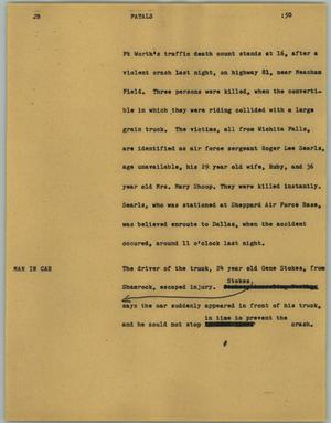 Primary view of object titled '[News Script: Fatals]'.