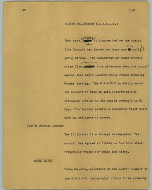 Primary view of object titled '[News Script: Austin filibuster]'.