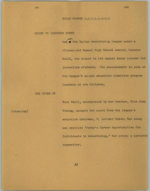Primary view of object titled '[News Script: Essay winner]'.