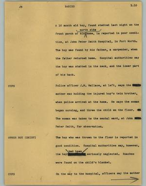 Primary view of object titled '[News Script: Babies]'.