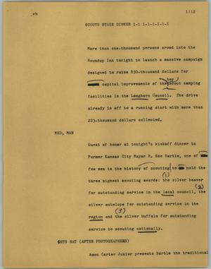 Primary view of object titled '[News Script: Scouts stage dinner]'.