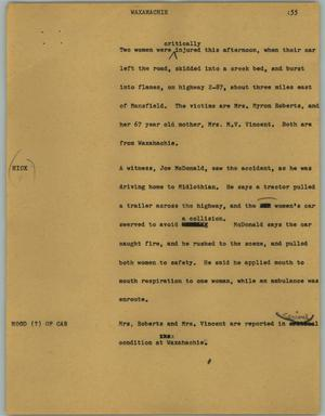 Primary view of object titled '[News Script: Waxahachie]'.