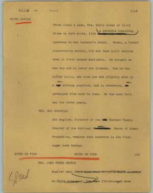 Primary view of object titled '[News Script: Polio]'.