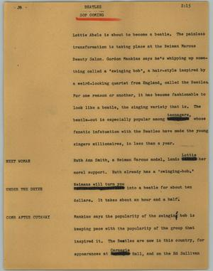 Primary view of object titled '[News Script: Beatles]'.