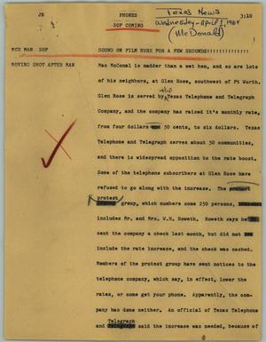 Primary view of object titled '[News Script: Phones]'.