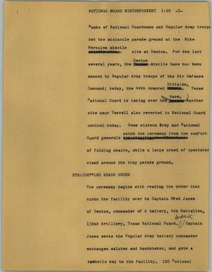 Primary view of object titled '[News Script: National Guard nincompoopery]'.