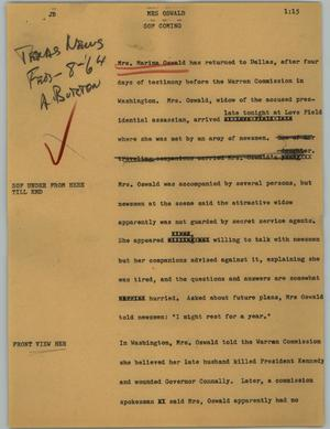 Primary view of object titled '[News Script: Mrs Oswald]'.