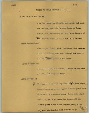 Primary view of object titled '[News Script: Aggies vs Texas Western]'.