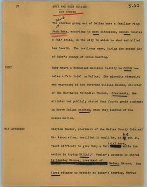 Primary view of object titled '[News Script: Ruby and beer hearing]'.