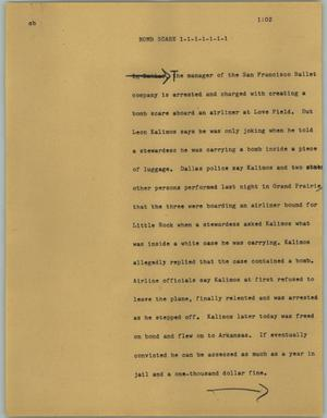 Primary view of object titled '[News Script: Bomb scare]'.