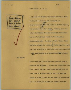 Primary view of object titled '[News Script: Wife killer]'.