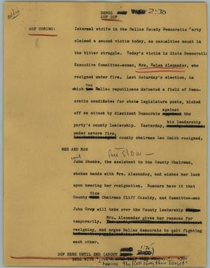 Primary view of object titled '[News Script: Demos]'.