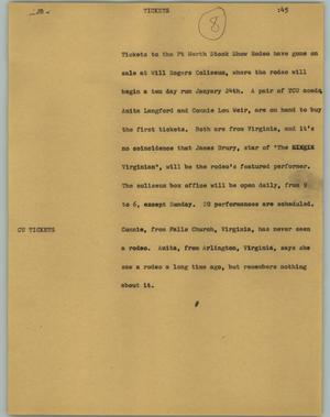 Primary view of object titled '[News Script: Tickets]'.
