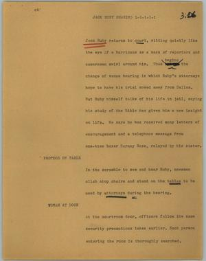 Primary view of object titled '[News Script: Jack Ruby hearing]'.