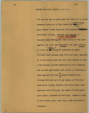 Primary view of object titled '[News Script: Murder for hire victim]'.
