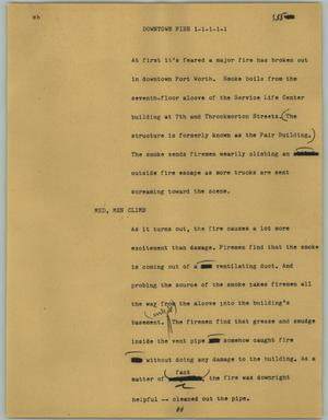 Primary view of object titled '[News Script: Downtown fire]'.