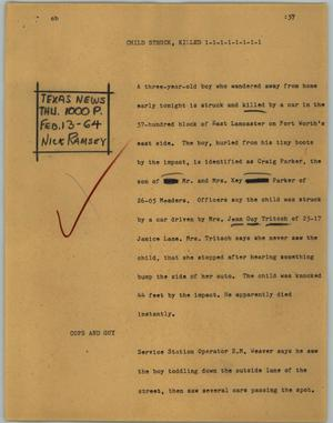 Primary view of object titled '[News Script: Child struck, killed]'.