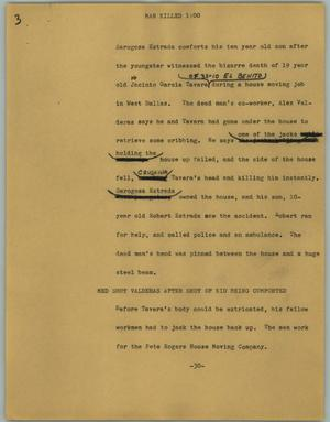 Primary view of object titled '[News Script: Man killed]'.