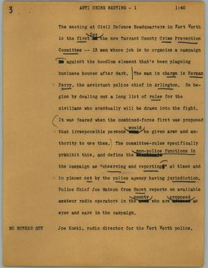 Primary view of object titled '[News Script: Anti crime meeting]'.