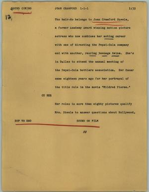 Primary view of object titled '[News Script: Joan Crawford]'.