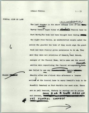 Primary view of object titled '[News Script: Oswald funeral]'.