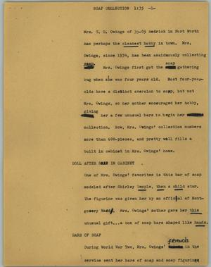 Primary view of object titled '[News Script: Soap collection]'.