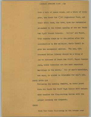 Primary view of object titled '[News Script: Library opening]'.