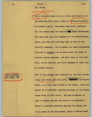 Primary view of object titled '[News Script: Wayne]'.