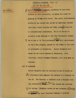 Primary view of object titled '[News Script: Professor Barghorn]'.