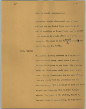 Primary view of object titled '[News Script: Wheat to Russia]'.