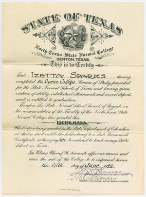 A diploma with the word State of Texas on it in bold letter. The first paragraph has the name Izetta Sparks, the bottom of it is signed in ink.