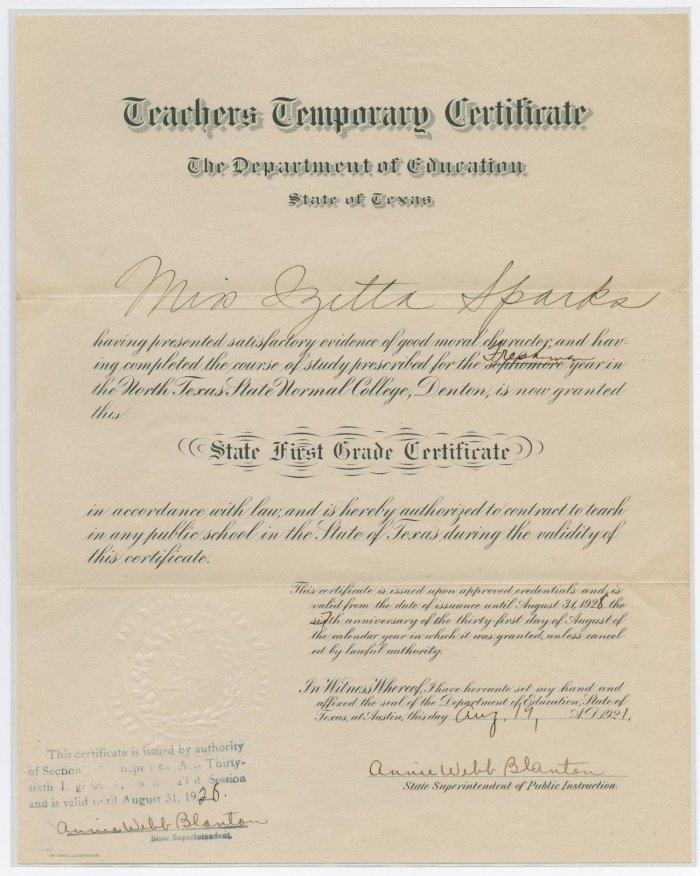 Teachers Temporary Certificate The Portal To Texas History