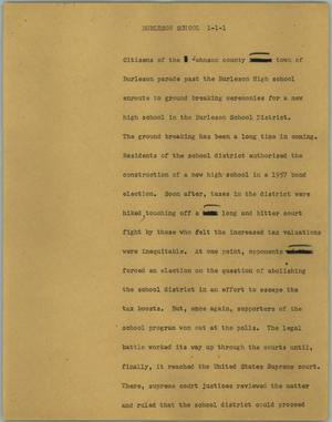 Primary view of object titled '[News Script: Burleson school]'.
