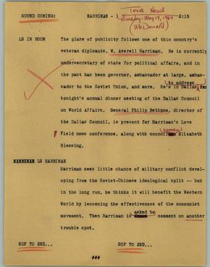 Primary view of object titled '[News Script: Harriman]'.