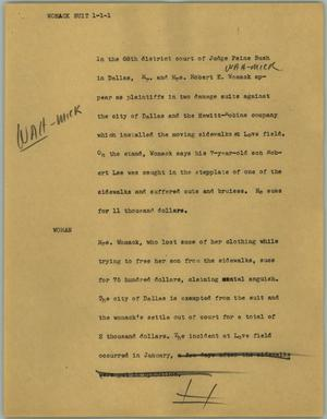 Primary view of object titled '[News Script: Womack suit]'.