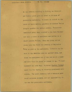 Primary view of object titled '[News Script: Marijuana trial]'.